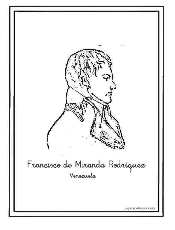 Dibujos de simón Bolívar para colorear - jugarycolorear.com
